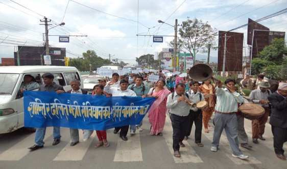Creating pressure from Dalit civil society through mass rally for promulgating Dalit friendly constitution before 28 May, 2012